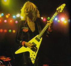 Michael Schenker - as we all remember him, sat astride a white Flying V.