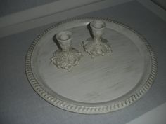 Cottage Chic Silver Tray and Two Silver candlesticks by AtticJoys1, $26.50