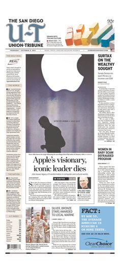 Over 100 Newspaper Front Pages Around The World Mourn Steve Jobs