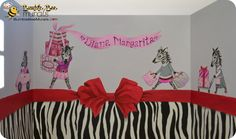 Dilute the pink in your little daughter's bedroom or nursery with a cute zebra wall mural.