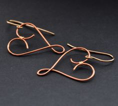 Copper Heart Earrings, Gold, Mixed Metal Wire, Valentines Day. $23.00, via Etsy.