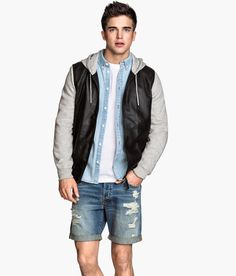 5-pocket denim shorts and material-blocked pilot jacket with perforated faux leather and sweatshirt sleeves. | H&M Divided Guys