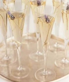 such a pretty style of champagne glass? Floral accent nice too