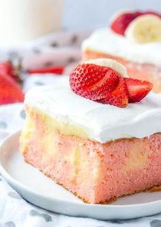 Easy and delicious this Strawberry Banana Poke Cake is a flavorful, fun and unique dessert that combines two iconic flavors into one!