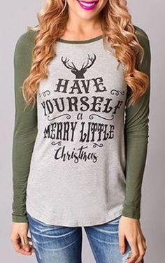Christmas Scoop Neck Long Sleeve Deer and Letter Pattern T-Shirt For Women…