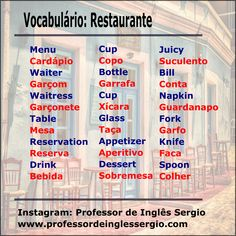 Vocabulário #inglês: restaurante English Help, Fluent English, English Course, Learn English Words, English Tips, English Study, English Lessons, French Lessons, Spanish Lessons