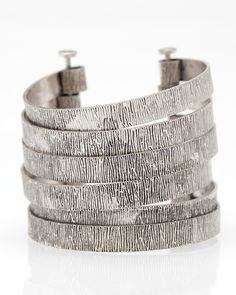 layered cuffs are perfect, look at the nail detail clasp Modern Jewelry, Metal Jewelry, Sterling Silver Jewelry, Silver Rings, Cuff Bracelets, Bangles, Jewelry Accessories, Jewelry Design, Gypsy Jewelry