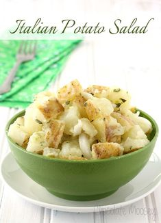 Forget the mayonnaise! This Italian Potato Salad is tossed with olive oil, vinegar, onion, garlic, and parsley.