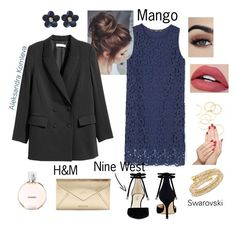 """Выход в свет."" by alexkomleva on Polyvore featuring мода, MANGO, Nine West, poppin., A.V. Max, Piggy Paint, Swarovski и Chanel"