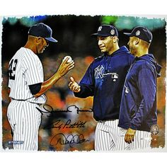 Mariano Rivera Derek Jeter & Andy Pettitte Triple-Signed Handing Ball To Pettitte & Jeter 20X24 Canvas (MLB Auth)