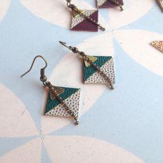 Leather earrings green diamond bicolor