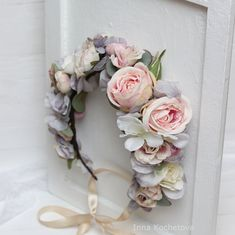 Ready to ship Powder pink gray flower crown Floral crown Boho wedding Romantic flower wreath Wedding halo Bridal headband Boutonniere