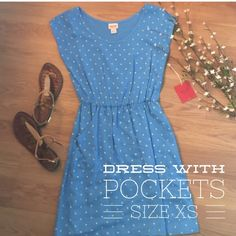 Dress with Pockets Brand new with tags and perfect for summer, plus it has pockets...yes, pockets! Blue with yellowish/green polka dots. Mossimo Supply Co. Dresses Midi