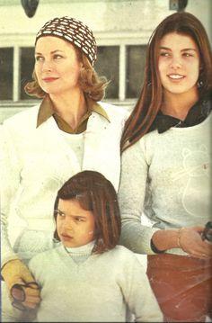 Princess Grace with daughters Caroline and Stephanie