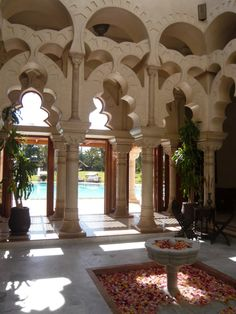 The legendary Luxury Hotel in Morocco - Moroccan Palace. t is a haven for relaxation under the sun of Marrakech. Moroccan Art, Moroccan Interiors, Moroccan Design, Moroccan Style, Moroccan Wedding, Islamic Architecture, Art And Architecture, Architecture Details, Mamounia Marrakech