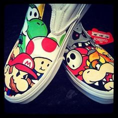 mario hand painted shoes by KaylasGettinPlace on Etsy