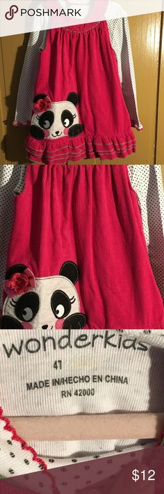 Toddler Girl corduroy dress w/ mock turtle Toddler Girl corduroy dress w matching mock turtle panda on front..  No holes, stains, etc.. Wonder Kids Dresses Casual
