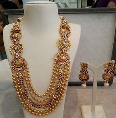 Jewellery Designs: Five String Antique Haram Pakistani Bridal Jewelry, Indian Wedding Jewelry, Indian Jewelry, Gold Jewellery Design, Gold Jewelry, Gold Necklaces, Jewelry Patterns, Necklace Designs, Antique Jewelry