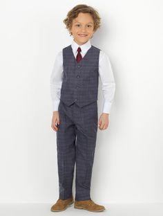 Boys navy check suit | Boys navy page boy suit | Roco