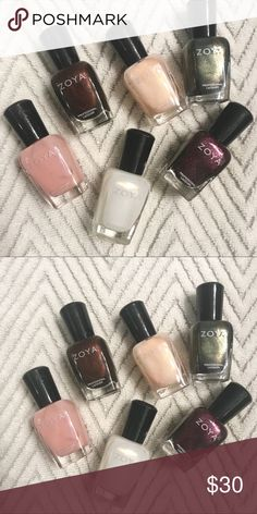Lot of 6 Zoya Nail Polishes Cleaning out my stash! Six Zoya polishes, all have shimmer.  Some have more than others. Zoya Makeup