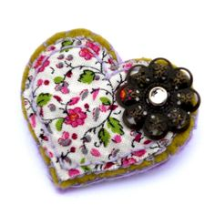 felt brooch shabby chic floral filigree heart