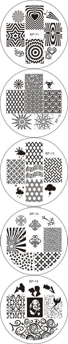 $6.49 5pcs BORN PRETTY 11 - 15 Nail Art Stamp Template Image Plates - BornPrettyStore.com