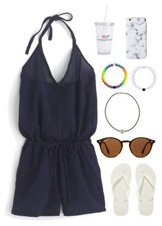 """""""So ready for California"""" by classygrace ❤ liked on Polyvore featuring J.Crew, Ray-Ban, Majorica, Havaianas and Vineyard Vines"""