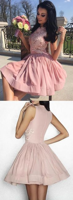 UHC0108, A-line homecoming dresses,short homecoming dress,pink homecoming dress, with applique,homecoming 2017