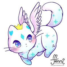 Ice Angel  . . . #angel #angelcat #snow #chibi #catlover #jennillustrations