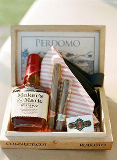 Groomsman Gift Idea... gifts inside a cigar box. love it.