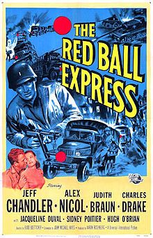 Red Ball Express Story of the military truck drivers who kept the Allied armies supplied in Europe during Starring : Jeff Chandler, Sidney Poitier, Alex Nicol Director : Budd Boetticher Running time : 80 Minutes Language : English 2 Movie, Movie Photo, Movie Theater, Theatre, Illinois, Book Posters, Movie Posters, Cinema Posters, Hugh O'brian
