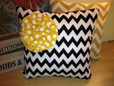 Black and White Chevron throw pillow with by allthingsglorious2, $25.00