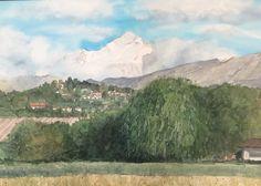 Aquarelle Mountains, Nature, Travel, Watercolor Painting, Naturaleza, Viajes, Trips, Nature Illustration, Outdoors
