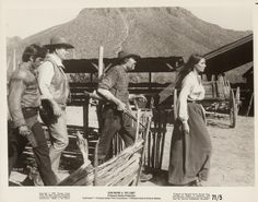 RIO LOBO - John Wayne, Jorge Rivero, Jack Elam & Jennifer O'Neill on location in Durango, Mexico - Directed by Howard Hawks - Publicity Still.
