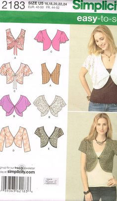 Simplicity 2183, Home Sewing Pattern, Misses' Bolero Jackets, Size 16, 18, 20, 22, 24, Plus Size