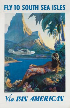 "Paul George Lawler, ""Fly to the South Sea Isles / Via Pan American"" (c. 1938), estimate $8,000 to $12,000"