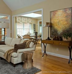 Interior Design Greensboro, NC, abstract art makes a traditional room feel more contemporary.