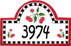 Our whimsical Cherries Plaque comes in 3 border colors: red, black, and green!
