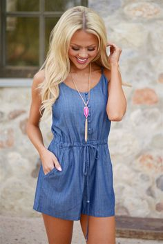 She's So Classic Chambray Romper from Closet Candy Boutique #fashion #ootd #spring