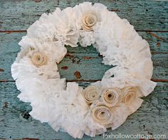 How To Make A Coffee Filter Wreath {with burlap roses}- great tutorial with pictures