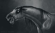 Nightmare by Michelle Tolo Mythical Creatures Art, Mythological Creatures, Fantasy Paintings, Animal Paintings, Kelpie Horse, Demon Horse, Dessin Old School, Beautiful Dark Art, Creature Drawings