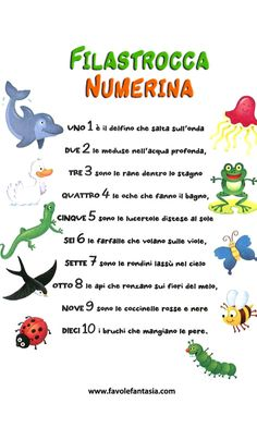 Filastrocca Numerina Italian Phrases, Montessori Baby, Italian Language, Learning Italian, Primary School, Pre School, Kids Education, Nursery Rhymes, Preschool Crafts