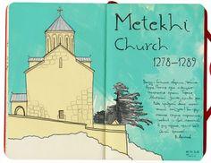 Tbilisi travel sketchbook 2015 I Tata Biserova I 6 proyectos imprescindibles en Behance #TravelSketchbook I Makamo