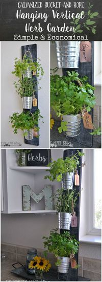 indoor garden This is such a cool idea! A simple way to make an indoor herb garden for your kitchen. It saves space and the buckets can be removed for watering or cuttings. Im making some of these. Herb Garden In Kitchen, Kitchen Herbs, Herbs Garden, Diy Kitchen, Kitchen Tips, Garden Planters, Kitchen Country, Garden Water, Kitchen Ideas