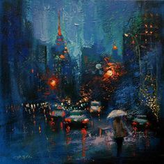 Buy Blue Rain and the City, a Oil on Canvas by Chin h Shin from United States. It portrays: Cities, relevant to: rain, rainy, street, urban, new york, oil painting, building, city, contemporary, night One of kind Original Painting  20 x 20 x 1.5 inches  Heavily Textured painting  New York is always been very interesting city and has variety of element to work with, but most importantly I am using new York city to express myself.  I've been developing spectrum of colors in order to go with...