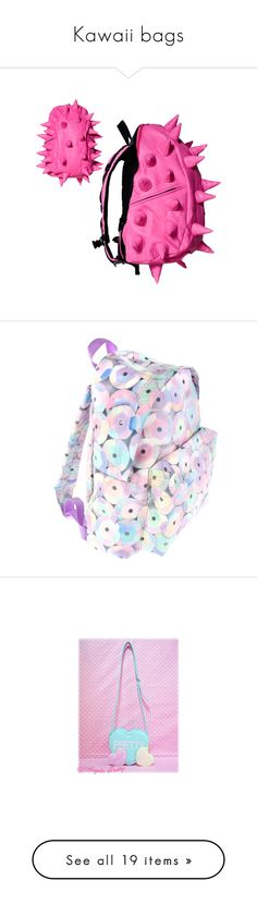 """Kawaii bags"" by twisted-candy ❤ liked on Polyvore featuring bags, backpack, spike, backpacks, accessories, peace backpack, stripe backpack, pink glitter backpack, pink bag and day pack backpack"