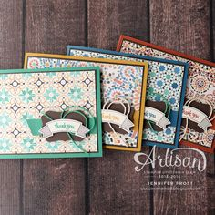 Great way to use up that DSP Designer Paper stash!!! Moroccan Designer Series Papers, Thoughtful Banners, Decorative label punch, Set of cards