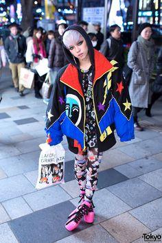 Hirari Ikeda, works at Dog Harajuku Boutique, attends beauty school, is a major Tokyo Street style icon | 31 January 2013 | #Fashion #Harajuku () #Shibuya () #Tokyo () #Japan ()