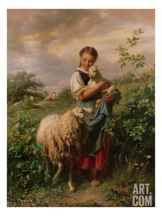 Johann Baptist Hofner The Shepherdess print for sale. Shop for Johann Baptist Hofner The Shepherdess painting and frame at discount price, ships in 24 hours. Cheap price prints end soon. Art And Illustration, Tableau Pop Art, Sheep Art, Sheep And Lamb, Baby Sheep, Little Bo Peep, The Good Shepherd, Victorian Art, Fine Art