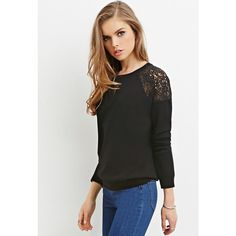 Forever 21 Forever 21 Women's  Lace-Paneled Sweater ($13) ❤ liked on Polyvore featuring tops, sweaters, full length sweater, forever 21 sweaters, forever 21 tops, forever 21 and lightweight sweaters